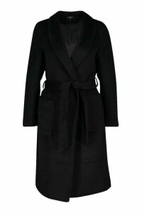 Womens Petite Wrap Pocket Wool Look Coat - black - 14, Black
