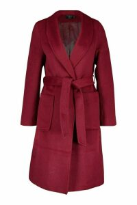 Womens Petite Wrap Pocket Wool Look Coat - Red - 14, Red
