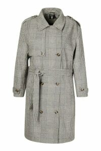Womens Plus Wool Look Prince Of Wales Check Trench Coat - grey - 24, Grey
