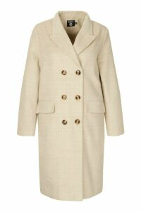 Womens Plus Tonal Check Double Breasted Boyfriend Coat - beige - 20, Beige
