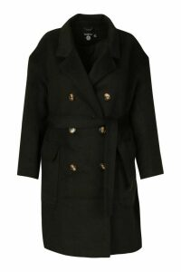 Womens Plus Wool Look Belted Button Detail Trench Coat - black - 20, Black
