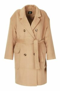 Womens Plus Wool Look Belted Button Detail Trench Coat - beige - 16, Beige