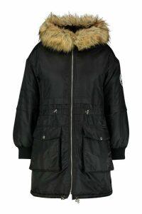 Womens Plus Faux Fur Hooded Parka - black - 20, Black