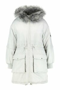 Womens Plus Faux Fur Hooded Parka - grey - 16, Grey