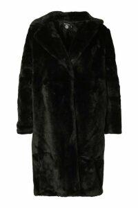 Womens Plus Supersoft Faux Fur Midi Length Coat - black - 20, Black