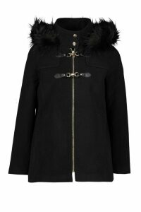 Womens Petite Faux Fur Trim Wool Look Duffle Coat - black - 14, Black
