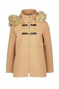 Womens Petite Faux Fur Trim Wool Look Duffle Coat - beige - 14, Beige