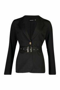 Womens Belted Tailored Blazer - black - 14, Black