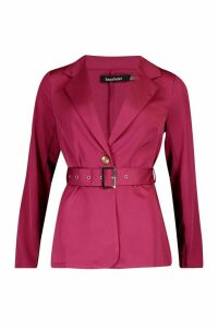 Womens Belted Tailored Blazer - pink - 14, Pink