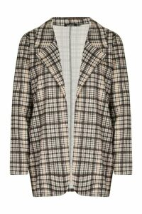 Womens Heritage Check Oversized Blazer - brown - 14, Brown