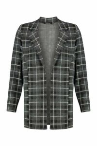 Womens Oversized Grid Check Blazer - black - 14, Black