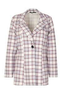 Womens Oversized Check Single Breasted Blazer - blue - 14, Blue
