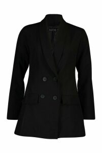 Womens Longline Double Breasted Blazer - black - 14, Black