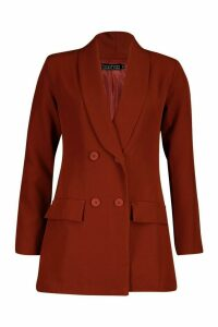 Womens Longline Double Breasted Blazer - orange - 14, Orange