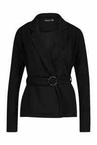 Womens Belted Edge To Edge Blazer - black - 10, Black