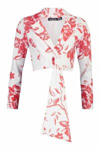 Womens Floral Print Tie Detail Cropped Blazer - red - 16, Red