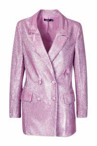 Womens Sparkle Blazer - Pink - 12, Pink