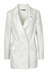 Womens Sparkle Blazer - grey - 14, Grey