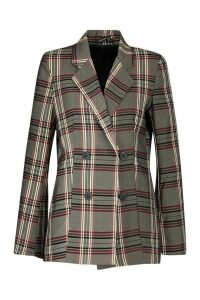 Womens Check Double Breasted Blazer - grey - 14, Grey