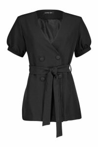 Womens Volume Sleeve Belted Blazer - black - 14, Black