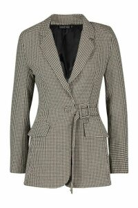 Womens Check Buckle Detail Blazer - brown - 14, Brown