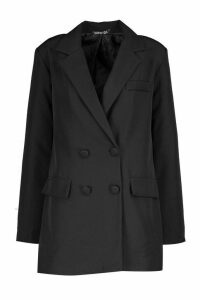 Womens Double Breasted Blazer - black - 14, Black