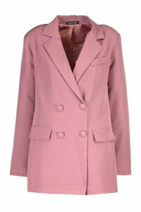 Womens Double Breasted Blazer - pink - 14, Pink