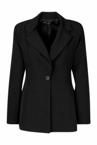 Womens Flared Tailored Blazer - black - 12, Black