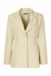 Womens Flared Tailored Blazer - beige - 14, Beige