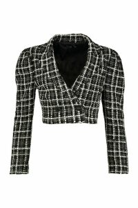 Womens Boucle Double Breasted Cropped Blazer - black - 8, Black