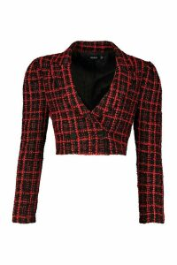 Womens Boucle Double Breasted Cropped Blazer - red - 14, Red