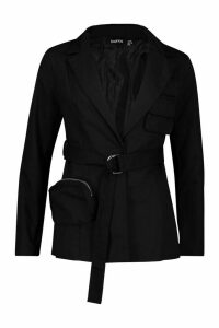Womens Pocket Detail Tailored Belted Blazer - black - 16, Black