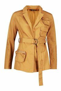 Womens Pocket Detail Tailored Belted Blazer - beige - 16, Beige