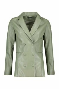 Womens Leather Look Pu Blazer - green - 8, Green