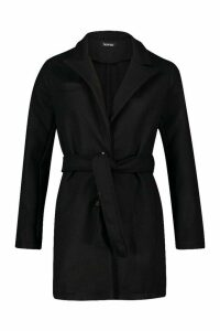 Womens Belted Wool Look Blazer Coat - black - 12, Black