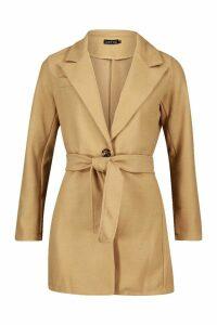 Womens Belted Wool Look Blazer Coat - beige - 14, Beige