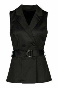 Womens Longline Satin Front Belted Blazer - black - 14, Black