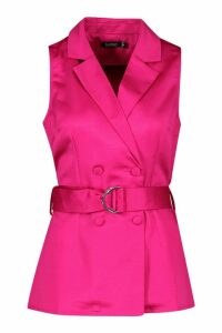 Womens Longline Satin Front Belted Blazer - pink - 14, Pink