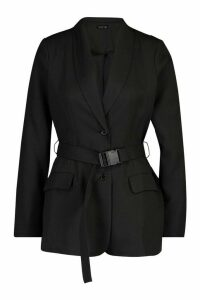 Womens Utility Buckle Detail Blazer - black - 14, Black