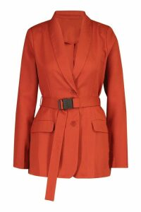 Womens Utility Buckle Detail Blazer - orange - 14, Orange