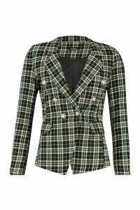 Womens Tartan Double Breasted Blazer - black - 14, Black