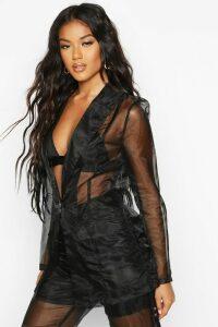 Womens Organza Tailored Blazer - black - 12, Black