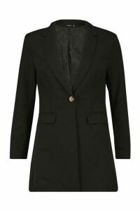 Womens Woven Oversized Blazer - black - 14, Black