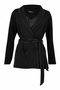 Womens Double Breasted Belted Blazer - black - M, Black