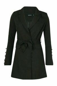 Womens Button Detail Flared Sleeve Belted Blazer - black - 14, Black