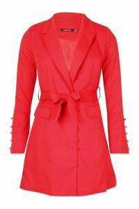 Womens Button Detail Flared Sleeve Belted Blazer - 12, Red