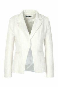 Womens Boucle Blazer - white - 10, White