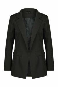Womens Oversized Longline Blazer - black - 14, Black