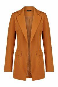Womens Oversized Longline Blazer - beige - 12, Beige