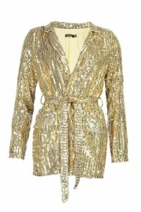 Womens Sequin Tie Belt Blazer - metallics - 12, Metallics